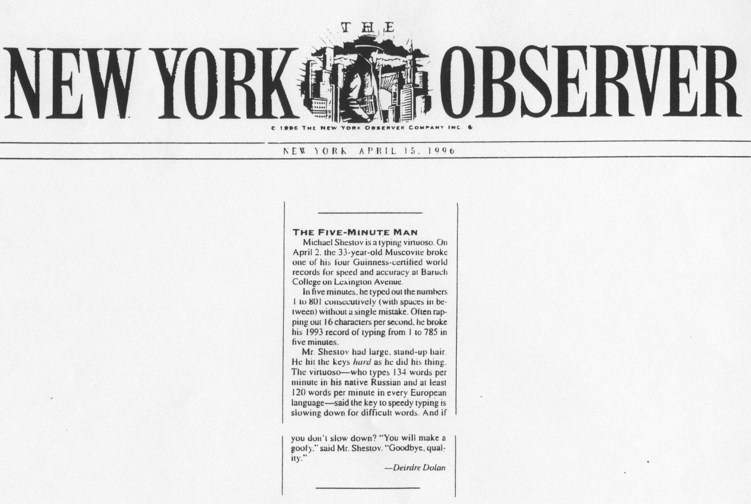 The New York Observer, 1996